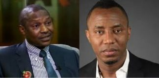 Cropped Image of the AGF Abubakar Malami and Omoyele Sowore